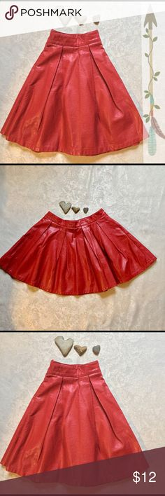 Forever 21 Box Pleated Mini Skirt Gorgeous FULL skater skirt in vibrant red faux leather.  Twirl as much as you want in this beauty!  Side hidden zipper.  EUC.  Waist is 14 inches.  Length is 16.  In size medium by Forever 21. Forever 21 Skirts Circle & Skater