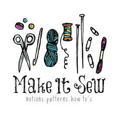 Premade Logo - Sewing Logo Spools Knitting Logo Crafts Logo Sew Knit Logo Hand Drawn Logo Illustrated Logo Pen and Ink Logo Premade Logo