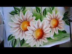 Pintura em Tecido. Aprenda pintar Hibisco Branco, Botão, Folhas e Fundo. - YouTube