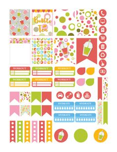 BUBBLE TEA Colorful Planner Stickers by PrintThemAllStudio on Etsy