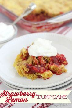 15 Ridiculously Easy Dump Cakes You Can Make in a Flash- Strawberry Lemon Dump Cake- Fresh strawberries blended together with lemons and cake mix. What more could you possibly want in your dessert? Get the recipe at redbookmag.com.