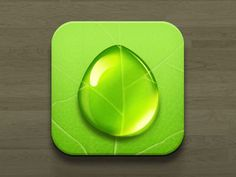 I think the bright lime green of this icon is what draws the attention. The color is so bold and would stand out amongst many other app icons. I think the realistic water drop also adds some nice depth to the icon.