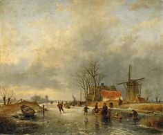 Andreas Schelfhout, WINTER LANDSCAPE WITH WIND-MILL AND SKATERS