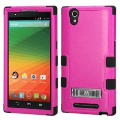 ZTE ZMAX Z970 Hard Cover and Silicone Protective Case - Hybrid Hot Pink/Black Tuff w/ Metal Stand 1