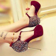 Burgundy high heel fashion