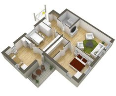 Plano casa 2 dormitorios Two Bedroom House, Little Houses, My House, Floor Plans, Shelves, Flooring, How To Plan, Architecture, Design