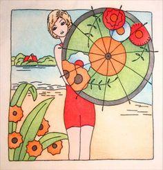 Beach umbrella girl, tinted embroidery.