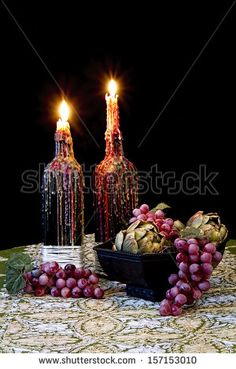 stock-photo-romantic-table-with-candles-dripping-with-melted-wax-and-grapes-old-world-still-life-157153010.jpg (300×470)