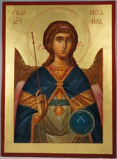 Holy Archangel Michael - This is a premium quality icon made with pure 23K gold leaf. Painted using traditional technique - egg tempera, lime wood panel with slats on the back, varnish, 23 karat gold leaf. About our icons Blessedmart offers hand-painted religious icons that follow the Russian, Greek, Byzantine and Roman Catholic traditions. We partner with some