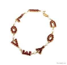 "14K gold, garnet, and pearls, USA, 1960s, 7-1/4"".  #ValentinesDayGifts"