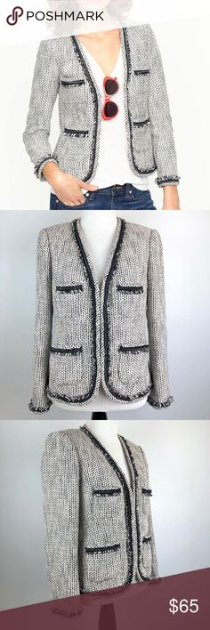 "J. Crew Terrazo Tweed Jacket Size 4 Preowned Women's J. Crew Terrazo Tweed Jacket Size 4 Eye hook front closure Cotton/Linen blend Dry clean only No stains or holes Nonsmoking home Navy Blue and white with fringe/chain detailing Lined  Pit to Pit 19""  Length back of neck to bottom 22"" Sleeve 22"" Shoulders 15""  042354104089 J. Crew Jackets & Coats"