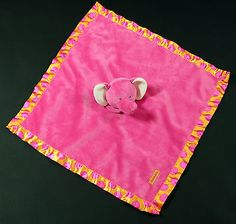 Carters Pink Elephant Security Baby Blanket Rattle Stuffed Animal Polka Dot Trim