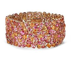 Mandarin Garnet, Spinel and Diamond Bracelet in 18k Yellow Gold