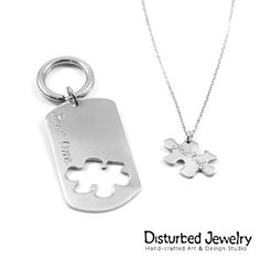 'One look, one smile, one touch, two souls, one life' couple's set / gift Dog Tag Necklace, Custom Design, Puzzle, Touch, Smile, Engagement, Sterling Silver, Gifts, Shopping
