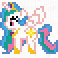 Perler Mania: My Little Princess, Friendship is Magic: Princess Celestia Perler Beads, Perler Bead Art, Fuse Beads, Minecraft Pattern, Minecraft Pixel Art, Motifs Perler, Perler Patterns, Pony Bead Patterns, Beading Patterns