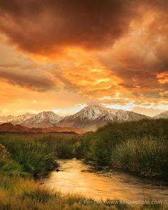 ~~Owens River Sunset ~ clearing storms create a spectacular sunset over several peaks of eastern Sierra Nevada, California by Ken Lee~~