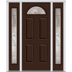 Milliken Millwork 68.5 in. x 81.75 in. Heirloom Master Decorative Glass 1/4 Lite Painted Majestic Steel Exterior Door with Sidelites, Polished Mahogany