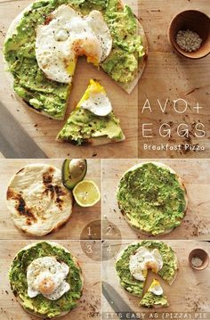 Breakfast pizza: avocado and scrambled egg on a pita pocket or | http://breakybreakfasts.blogspot.com