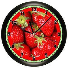 STRAWBERRY WALL CLOCK STRAWBERRIES FRUIT KITCHEN DECOR RED ART RESTAURANT