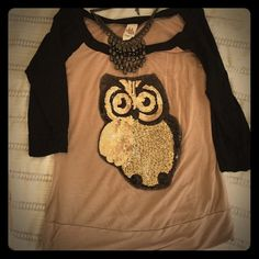"""3/4 Sleeve Top This 3/4 sleeve top is a """"hoot"""" (get it, yeah...sorry. I won't quit my day job. ) The owl is sequined. This top would go perfect with leggings. LA Teez Tops Blouses"""