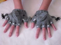 Elephant Mittens by Sui Hom -- winner of a Vanna's Choice yarn contest in 2010.
