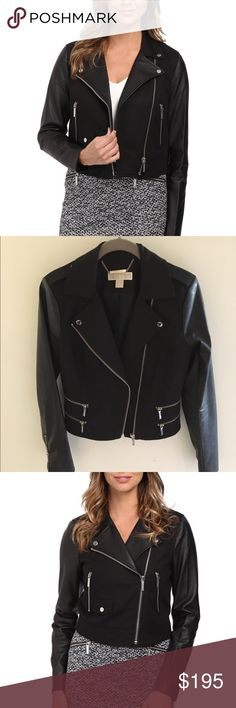 Michael Kors Leather Blazer Michael Kors Moto Leather Blazer Jacket. Worn twice. Great condition. Leather sleeves Michael Kors Jackets & Coats