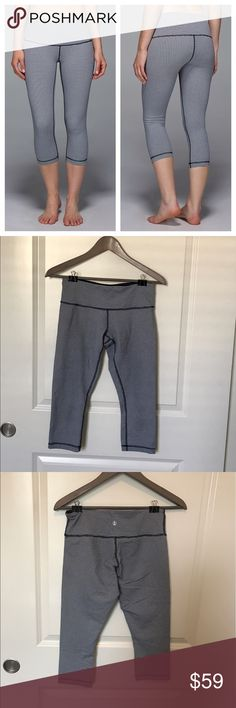 Lululemon Wunder Under Inkwell Gingham Lululemon Inkwell Gingham Wunder Under. Mid rise waist. Good condition but knees are a bit dingy from doing lunges and burpees in them. No pilling or other flaws. They do fit a bit tighter than your typical Lulu size 6. lululemon athletica Pants Capris