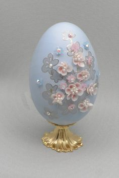 Pink Sea Shell Flowers on Blue Egg Ornament, Shell Flowers Ornament, Shell Art, Faberge Style Decorated Goose Egg