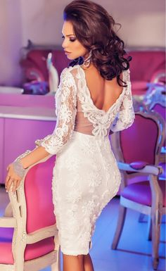 $36.99 White Quarter Sleeves Elegant Lace Midi Dress