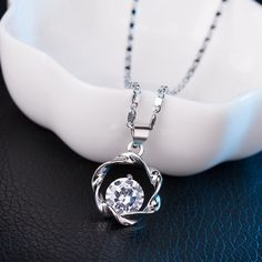 Brand Crystal white gold plated chain Necklaces & Pendants Engagement Silver choker Necklace Women