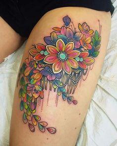 80 Halloween Tattoo Designs For Men - Ghoulish Grandeur and white halloween tattoos 80 Halloween Tattoo Designs For Men – Ghoulish Grandeur - Tattoo Upper Leg Tattoos, Side Thigh Tattoos, Flower Thigh Tattoos, Tattoo Flowers, Paisley Flower Tattoos, Hip Tattoos Women, Trendy Tattoos, Cool Tattoos, Feminine Tattoos