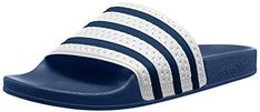 adidas Adilette Unisex Slide Navy White - 10 UK n/a Rubber sole External material: Rubber Unisex, Adidas Sandals, Adidas Adilette, Mens Slide Sandals, Best Travel Deals, Blue Heels, Mens Slippers, Adidas Originals Mens, Color Azul