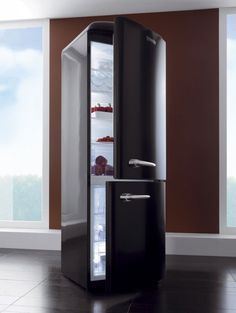 New glossy black version of OldTimer refrigerator is released by Gorenje. As many other Gorenje designs the refrigerator has very sleek, contemporary look Retro Refrigerator, Retro Fridge, Gorenje Retro, Tall Cabinet Storage, Locker Storage, New Bathroom Ideas, Kitchen Interior, Ideal Home, Kitchen Dining