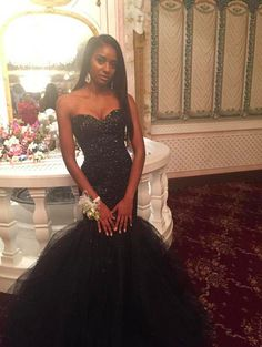 Black Prom Dresses,Tulle Prom Dress,Sexy Prom Dress,Mermaid Prom Dresses,2016 Formal Gown,Beading Evening Gowns,Beaded Party Dress,Prom Gown For Teens