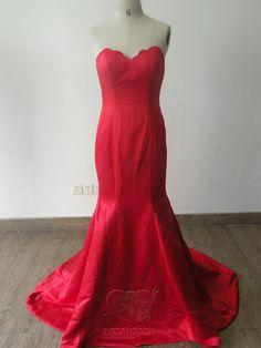 Handmade Custom Red Fold Mermaid Taffeta Zipper by angeldreamprom, $109.19