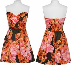 $15 -- SPEECHLESS Vibrant Floral Print Sweetheart Strapless Empire Waist Dress