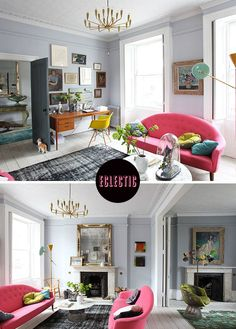 """Despite my least favorite word being used to describe this room (really, """"eclectic"""" is not a style of decor), I do love the paint colors. The rooms move from a lavender grey to a darker blue grey."""
