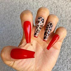 Leopard Print Nails, Red Cheetah Nails, Leopard Nail Art, Red Nail Art, Red Nail Designs, Cheetah Nail Designs, Exotic Nail Designs, Art Designs, Red Acrylic Nails