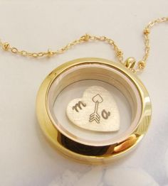 Bridesmaid Gift Ideas : Custom Floating Initial Heart & Arrow Necklace by Sora Designs on Scoutmob Shoppe Heart Locket Necklace, Star Necklace, Heart Jewelry, Arrow Necklace, Silver Jewelry, Women's Jewelry, Jewellery Box, Heart With Arrow, Personalized Necklace