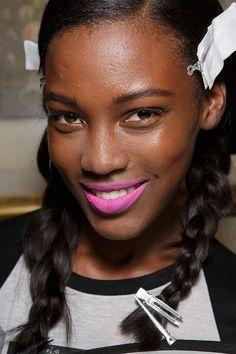 How To Pull Off Barbie Pink Lipstick  --  Aquilano.Rimondi Spring 2015 show