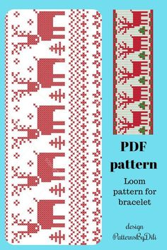 Items similar to Christmas deer bracelet pattern - seed bead loom work pattern - Christmas ornament pattern - Scandinavian winter pattern on Etsy Loom Patterns, Beading Patterns, Bracelet Patterns, Bracelet Designs, Christmas Deer, Christmas Ornaments, Naughty Santa, Deer Ornament, Loom Bracelets