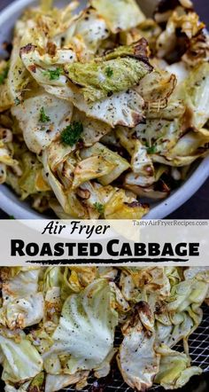 Roasting Cabbage in your air fryer is quick and easy. This Air Fryer Cabbage Recipe is a great way to cook cabbage that is tender with slightly crisp edges. A simple and nutritious vegan side dish. #airfryerrecipes #airfryer #cabbagerecipes #healthyrecipes #lowcarbrecipes #sidedishrecipes