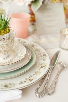 Plate-  mismatched vintage china place settings for rental