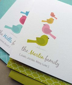 Personalized Bird Family Note Card Set, Family Stationery, Thank You Card, Baby Shower Thank You Note