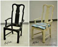 Before and after. Painted in Miss Lillian's No Wax Chalk Paint. See more unique pieces at www.facebook.com/deepsouthrecreations.