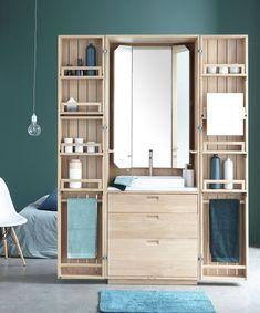 La Cabine is a pop-up bathroom that folds into a sleek wooden armoire Timber Bathroom Vanities, Wooden Bathroom, Bathroom Furniture, Bathroom Box, Bathroom Interior, Space Saving Bathroom, Compact Bathroom, Wooden Cabinets, Deco Design