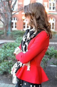 Cow Print Scarf and Red Pleated Blazer