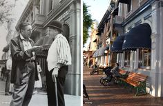 """Disneyland, Then and Now. L: Walt Disney chats with a """"cast member"""" on Main Street. R: """"Guests"""" take a break under the awnings on Main Street."""