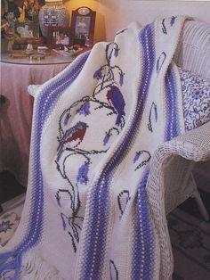 Crochet Pattern Bluebirds Bluebells Afghan Instructions   eBay