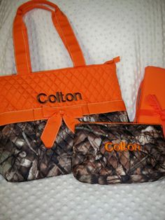 and Changing Pad Embroidered PERSONALIZED 3 Piece Diaper Bag Set with Name Baby Boy Camo and Orange Personalized Diaper Bag Zipper Pouch